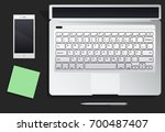 desktop with phone and the... | Shutterstock .eps vector #700487407