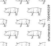 pig vintage engraved... | Shutterstock .eps vector #700490539