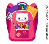open pink vector bag with funny ... | Shutterstock .eps vector #700493764