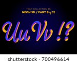 neon 3d typeset with rounded... | Shutterstock .eps vector #700496614