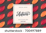 autumn sale background layout... | Shutterstock .eps vector #700497889