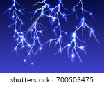 realistic lightning on dark... | Shutterstock .eps vector #700503475