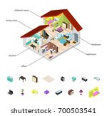 house in cutaway and element... | Shutterstock .eps vector #700503541