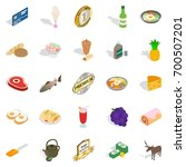 gastronomy icons set. isometric ... | Shutterstock .eps vector #700507201