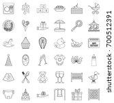birthday icons set. outline... | Shutterstock .eps vector #700512391