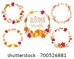 autumn or fall wreath frame... | Shutterstock .eps vector #700526881