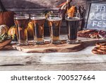 craft beer flight  halloween... | Shutterstock . vector #700527664