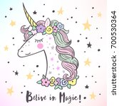 the cute magic unicorn and... | Shutterstock .eps vector #700530364