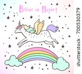 the cute magic unicorn and... | Shutterstock .eps vector #700530379