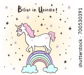 the cute magic unicorn and... | Shutterstock .eps vector #700530391