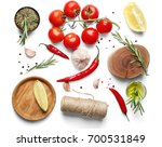 composition with fresh rosemary ... | Shutterstock . vector #700531849