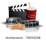 soda  filmstrip and tickets | Shutterstock .eps vector #70053208