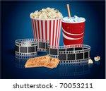 popcorn  drink and filmstrip | Shutterstock . vector #70053211