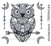 Stock vector vector decorative owl with arrow zentangle art ethnic illustration for tattoo design antistress 700544164