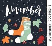 november  bright fall leaves ... | Shutterstock .eps vector #700546345