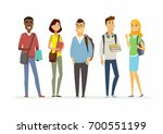 happy senior school students  ... | Shutterstock .eps vector #700551199