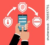 businessman hand holding smart... | Shutterstock .eps vector #700557751