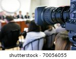 tv at press conference. | Shutterstock . vector #70056055