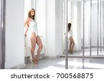 young sexy pole dance woman in... | Shutterstock . vector #700568875