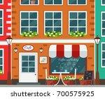 street cafe exterior. vector... | Shutterstock .eps vector #700575925