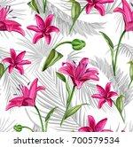 vector lily flower seamless... | Shutterstock .eps vector #700579534