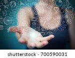 businesswoman on blurred... | Shutterstock . vector #700590031