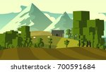 colorful countryside landscape... | Shutterstock . vector #700591684