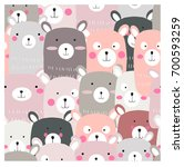 Stock vector vintage cute lovely teddy bear cartoon seamless pattern pastel and romantic color happiness smile 700593259