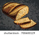 hand drawn bread cut slices in... | Shutterstock .eps vector #700600129