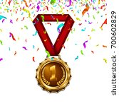 gold medal with red ribbon and... | Shutterstock .eps vector #700602829