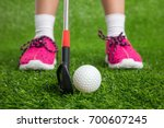 closeup of a child golfer with...   Shutterstock . vector #700607245