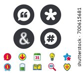 quote  asterisk footnote icons. ... | Shutterstock .eps vector #700615681