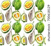 exotic durian healthy food... | Shutterstock . vector #700618129