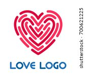 love logo. red heart and... | Shutterstock .eps vector #700621225