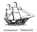 vintage sailing ship engraving...