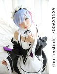 Small photo of Japan anime cosplay girl in white tone