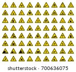 set of triangle warning sign on ... | Shutterstock .eps vector #700636075