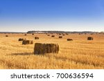 Bales Of Hay Scattered On The...