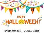 halloween card. vector... | Shutterstock .eps vector #700639885