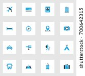 traveling colorful icons set.