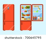 full of food opened and close... | Shutterstock .eps vector #700645795