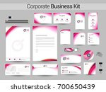 corporate business kit with... | Shutterstock .eps vector #700650439