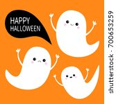 happy halloween. flying ghost... | Shutterstock .eps vector #700653259