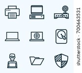 hardware outline icons set.... | Shutterstock .eps vector #700663531