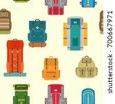 camping backpacks seamless... | Shutterstock .eps vector #700667971