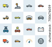 auto colorful outline icons set.... | Shutterstock .eps vector #700676059