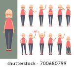 set of a woman in casual... | Shutterstock .eps vector #700680799