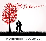 Man  Woman And Love Tree With...