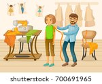 colorful tailor shop template | Shutterstock .eps vector #700691965