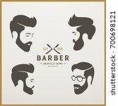 set of  logotype of man's head. ... | Shutterstock .eps vector #700698121